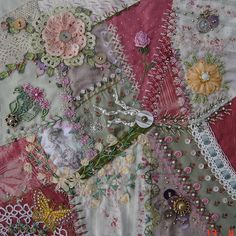 I ❤ crazy quilting & ribbon embroidery . . . Encrusted RR Block- Encrusted RR block, sewn by me, embellished by: Lorenza, Italy. Emiko, Japan. Helinä, Finland and Jo, New Zealand.  They did together a wonderful job, Thank you all, it turned out beautiful! ~By Ati Norway