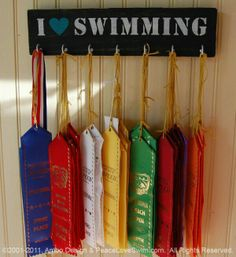 I Love Swimming Ribbon & Medal Hanger - Wood Rack - Customization/Personalization Available from AmboDesign on Etsy.