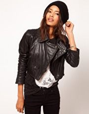 ASOS   ASOS Cropped Leather Biker Jacket With Quilted Collar at ASOS