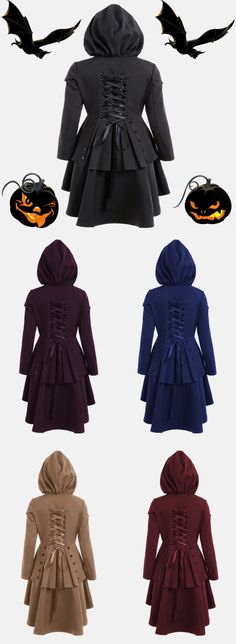 Layered Lace Up High Low Hooded Coat (Halloween Outfits Party) Cool Outfits, Fashion Outfits, Womens Fashion, Coats For Women, Jackets For Women, Winter Leather Jackets, Sammy Dress, Style Me, Dress Up