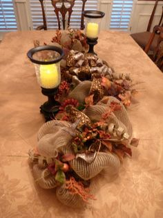 Deco Mesh THANKSGIVING TABLE CENTERPIECE by decoglitz on Etsy