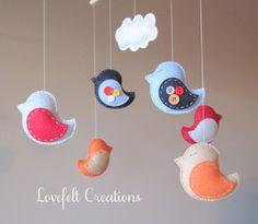 Baby Crib Mobile -  Custom Baby Mobile - Baby Mobile Birds - Bird Mobile -