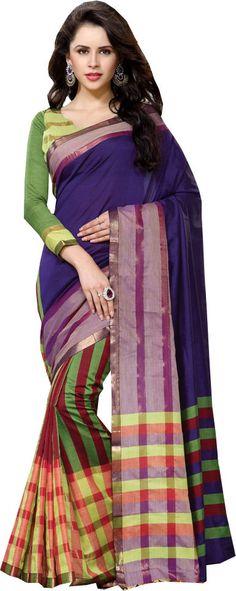 Multicolor Ethnic Wear Saree Cotton Printed Patli Zari Work Designer Sari #SareeStudio #SareeSari #EthnicWear