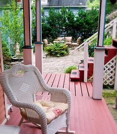 Captain Bridgeford Room deck, easy access for your pup to the outside area, at our Eureka Springs B