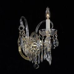 1 light crystal wall sconce in gold plated finish