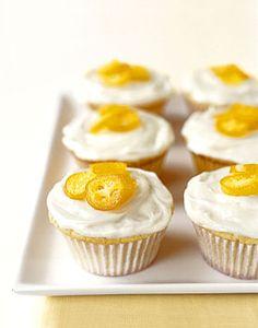 White Chocolate Cupcakes with Candied Kumquats recipe