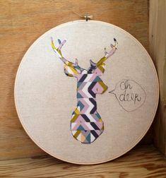 Oh deer embroidery hoop art via Etsy