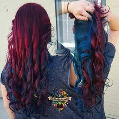 Blue, teal, and wine red hair