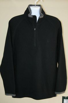 NWT $150 Aigle Black Gray Wool Blend & Fleece Half Zip Pullover Sweater size XXL #Aigle #12Zip