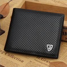 Black Men Leather Wallet Bifold SIM Credit Card Holder Purse Money Clip Wallets