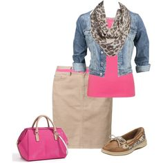 Blue jean jacket, pink tank top, cheetah print scarf, tan pencil skirt