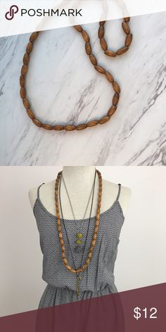 Long Wooden Beaded Boho Necklace Perfect layering necklace ! May be vintage but I cannot verify. I did purchase it at an antique shop. Jewelry Necklaces