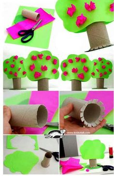 Toilet paper roll crafts - treecraft idea for kids crafts and worksheets fo Kids Crafts, Tree Crafts, Toddler Crafts, Preschool Crafts, Toddler Activities, Projects For Kids, Diy For Kids, Easy Crafts, Toilet Roll Craft