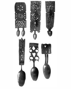 """old welsh love spoons  18th century    ……they are arranged to show the evolution of the lovespoon from the normal spoon. Such lovespoons might, a few years ago, have been seen in many Welsh homes, where they hung as things of ornament and sentiment, for it is said they were given in """"spooning"""" days to the girl of his choice by the lover. The handle is of course the appropriate field of decoration, the double bowl being symbolic of,    """"We two are one."""""""