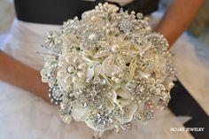Classic heirloom pearl brooch bouquet deposit on a by Noaki