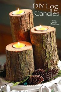 Wood Logs Candle Holders