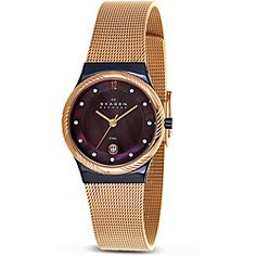 @Overstock - Add a unique element to your appearance and draw positive attention with this metallic mesh band watch by Skagen. Its spiral-embossed rim and eccentric purple face are sure to stand out.   http://www.overstock.com/Jewelry-Watches/Skagen-Womens-Twisted-Topring-Mesh-Band-Watch/6658188/product.html?CID=214117 $106.99