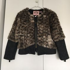 Juicy Couture Faux Fur Jacket Beautiful! Super soft faux fur with Herringbone accents at the hem and arms. Like new, no flaws! Juicy Couture Jackets & Coats