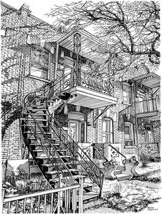 Balcon sur De Lorimier, escalier de Montréal. Plume et encre de chine