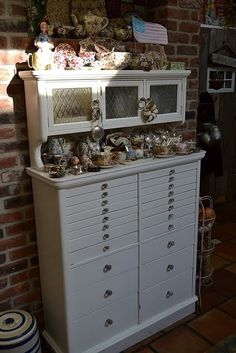 China on Vintage dental cabinet