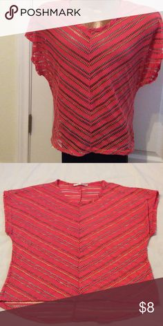 Watermelon hi-low blouse. Blouse is a watermelon orange color with multi color metallic thread.   It has an open weave- cute to wear over a tank or swimsuit. Tops Blouses