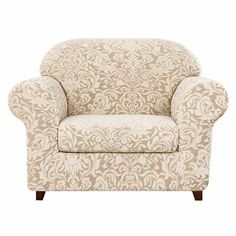House of Hampton Damask Printed Stretch Box Cushion Armchair Slipcover Colour: Linen Armchair Slipcover, Slipcovers For Chairs, Cushions On Sofa, Sofa Chair, Ikea Sofa, Box Cushion, Couch Covers, Furniture Covers, Furniture Sale