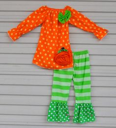 Girls Fall Pumpkin Patch Halloween Polka Dot Outfit Boutique Set Orange 18M-6 #MyCutiePye #CasualFormalParty