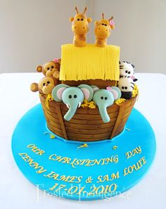 Oh, how cute is this cake for twins?? FrostedIndulgence