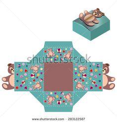 Box design, die-stamping. Vector template Kid Party Shopping Bag Teddy Bear Die Fold Lid