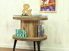 small cable spool turned little eclectic table