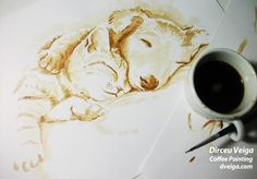 Pets -Coffee Art by D. Veiga.Painting made using only 100% coffee instead ink to paint.