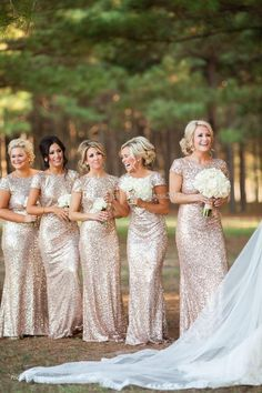 Bling Rose Gold Cheap 2015 Mermaid Bridesmaid Dresses Short Sleeve Sequins Backless Floor-Length Beach Wedding Gown Light Gold Champagne Online