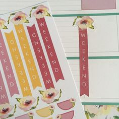 Planner stickers watercolor rose weekend labels by mahalmade