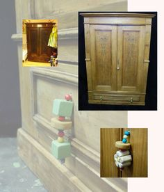 Un classico armadio reinventato con l'aiuto di piccole forme di legno colorato e perline. Ideale per la stanza dei bimbi.