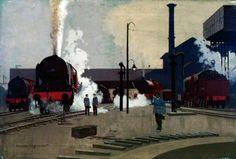 Motive Power Depot at Camden (London, Midland and Scottish Railway poster artwork) Norman Wilkinson National Railway Museum Train Posters, Railway Posters, Famous Marines, National Railway Museum, Fine Art Prints, Canvas Prints, London Art, Camden London, Train Art
