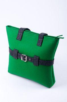 "Green Felt Bag ""Rebecca""by Felterra"