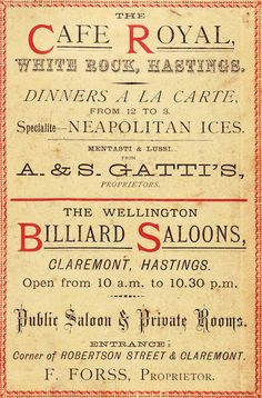Advertisement for The Cafe Royal, White Rock, Hastings and The Wellington Billiards Saloons, Claremont, Hastings. c.1882