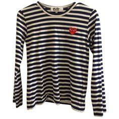 Pre-owned Comme Des Garcons Play T Shirt Navy/white (410 MYR) ❤ liked on Polyvore featuring tops, t-shirts, navy blue, navy blue t shirt, navy tee, white tee, white t shirt and comme des garcons t shirts