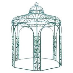 A stunning feature for your garden or patio, this iron gazebo features beautiful vine detailing and a green finish. For an enchanting look, arrange a white painted table in the middle covered in rustic lanterns.  Product: GazeboConstruction Material: IronColour: GreenDimensions: 350 cm H x 280 cm DiameterNote: Fully assembled