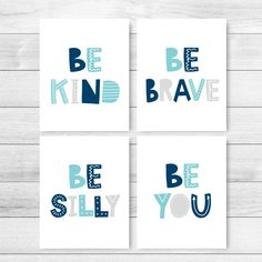 Be Kind Be Brave Be Silly Be You Printable Art, Set of 4 Wall Art, Kids Quote Prints, Playroom Decor, Classroom Posters *INSTANT DOWNLOAD* Playroom Rules, Playroom Decor, Nursery Wall Decor, Happy Kids Quotes, Quotes For Kids, Printable Classroom Posters, Printable Art, Monochrome Nursery, Printing Websites