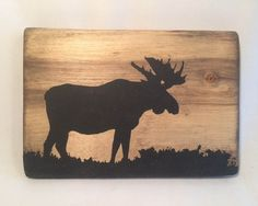 Wooden moose sillouette wall hanging art decor by BlacknotFarm