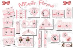 "Personalized Birthday Theme Kit ""Retro Minnie"" - Digital Invitations Simple"