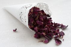 Wedding Cones W/ Petals. many places won't let you throw rice. This is a classy, unique, and safe alternative to the traditional rice or bubbles. LOVE this idea! Doily Wedding, Lace Wedding Invitations, Wedding Confetti, Wedding Programs, Diy Confetti Cones, How To Make Confetti, Country Garden Weddings, Plum Flowers, Wedding Save The Dates