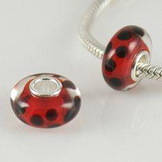 1 Bead - Ladybug Red Black Dots Sterling Silver Core .925 Lampwork Glass European Charm Bead GJ1305 LC0067