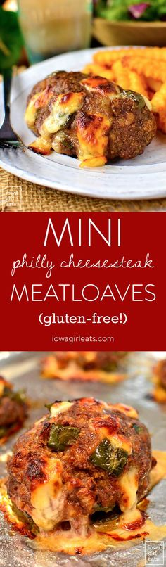 Mini Philly Cheesesteak Meatloaves are a fun and gluten-free dinner recipe that both kids and adults will love! | iowagirleats.com
