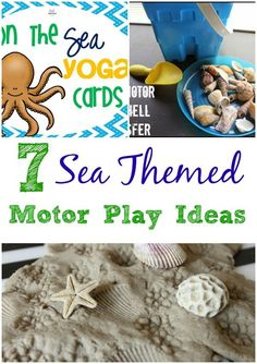 Sea Themed Motor Play Ideas-Pink Oatmeal. Great ideas for bot fine motor and gross motor play with a sea/ocean theme!