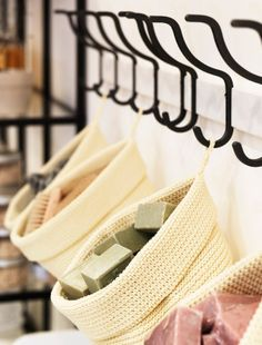 Good For Yarn Storage? Soap bars displayed in knitted baskets hung on HJÄLMAREN towel rack with hooks