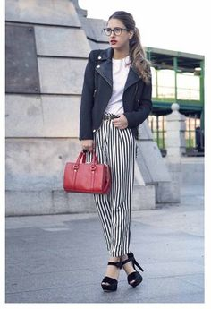 Fab heels. Striped trousers. Glasses