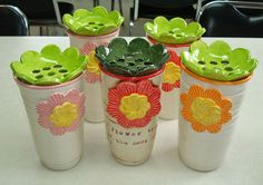 Pottery Vases with flower frog inserts.  Glazed with Concepts and dipped clear glaze. Lowfire cone 05