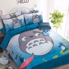 Color:gray. Include:four-piece suit(1 bed sheet,1 bedding bag,2 pillowcase) 1.2m(4 feet)the bed is a three-piece(1 bed sheet,1 bedding bag,1 pillowcase ) Material:coral fleece. Style:totoro. Applicabl